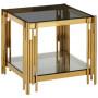 Table d'appoint design en acier inoxydable poli doré et plateau en verre trempé transparent anthracite  L. 55 x P. 55 x H. 55 cm collection MILANO