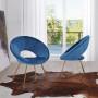 Chaise salle à manger design revêtement en velours bleu royal avec piètement en acier doré collection BARCLAY L. 49 x P. 50 x H. 48 cm