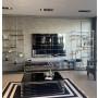 Bibliothèque design en acier et verre  coloris argenté L. 100 x P. 40 x H. 200 cm collection MONZA